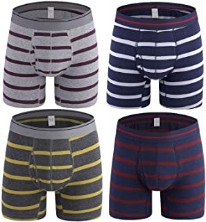 Nuofengkudu 4 Pack Mens Boxer Briefs Striped Open Fly Pouch Multi Pack Breathable Comfortable Stretch No Ride Up Cotton Bo...