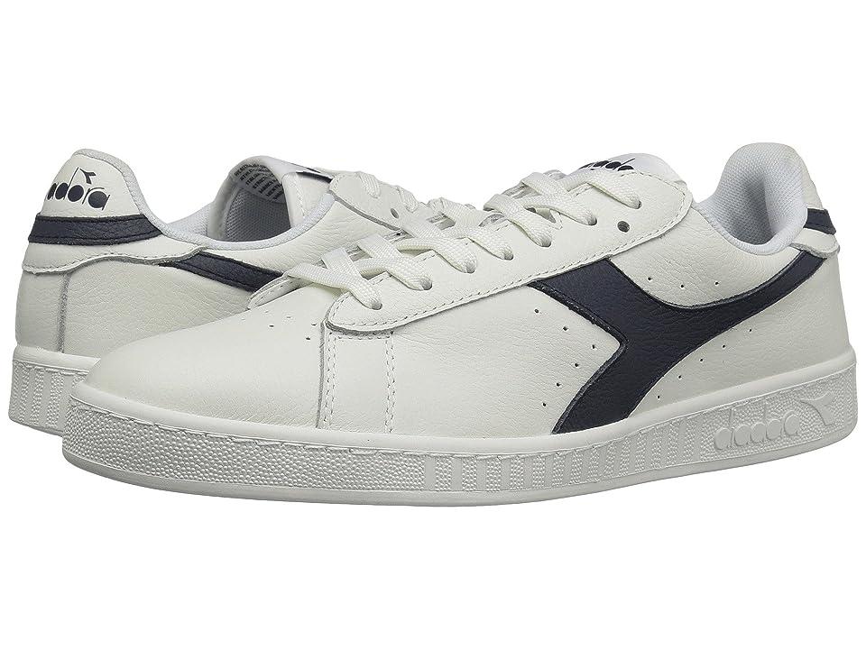 Diadora Game L Low Waxed (White/Blue Caspain Sea) Athletic Shoes