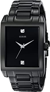 GUESS Men's U12557G1 Classic Black IP Rectangular Diamond Accented Watch