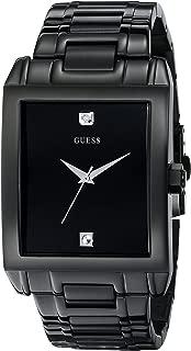 Men's U12557G1 Classic Black IP Rectangular Diamond Accented Watch
