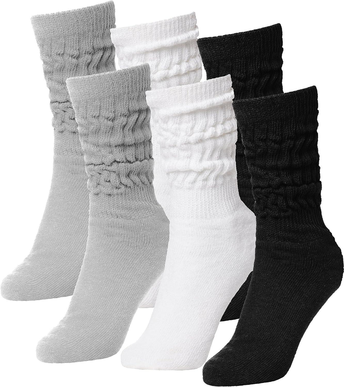 BRUBAKER Womens Or Mens Fitness Workout Gym Slouch Socks 6 Pack