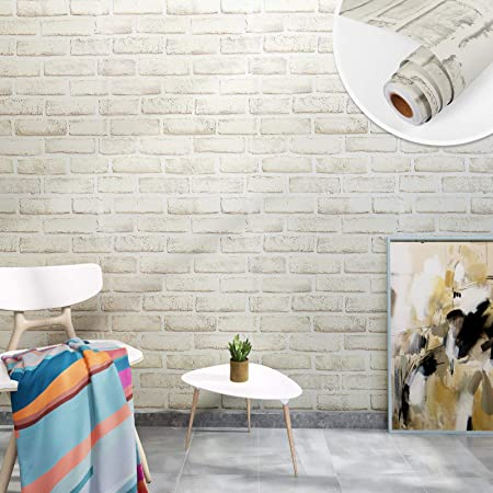 Yenhome Grey White Brick Wall Paper 118x30 Inch Peel And Stick Wallpaper Self Adhesive Vinyl Wallpaper Faux Brick Effect Background Wall Coverings For Bathroom Bedroom Brick Removable Contact Paper