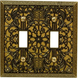 Amerelle Filigree Double Toggle Cast Metal Wallplate in Antique Brass