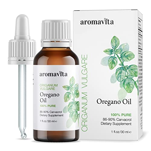 Aromavita Essential Oil of Oregano - 100% Pure Undiluted, Non GMO, Extra Strength Organic Greek Oregano Oil - Over 86% Carvacrol Oregano Extract Liquid Nutritional Supplement (1 FL.OZ/30ML)