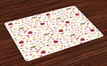 Ambesonne Bee Place Mats Set of 4, Autumn Themed Doodle Pattern with Bugs Plants Herbs Flower Mushroom in The Forest, Washable Fabric Placemats for Dining Room Kitchen Table Decor, Multicolor