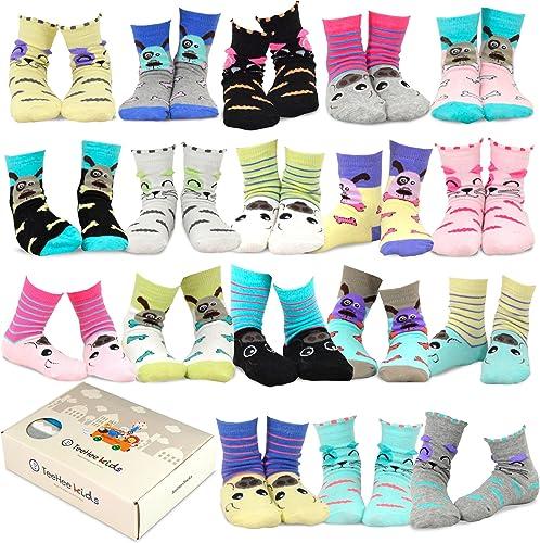 TeeHee Kids Girls Fun Novelty Casual Cotton Crew Socks 18 Pair Gift Box