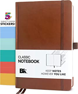 Classic Executive Notebook, Line-Ruled Composition Journal with 5 Subject Divider Stickers - Premium Vegan Leather Hardcover (Lined - BROWN)