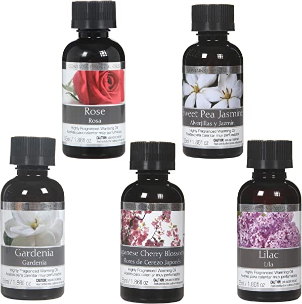 Hosley Set Of 5 Japanese Cherry Blossoms Sweet Pea Jasmine Gardenia Lilac Rose Fragrance Warming Oils 55 Milliliter Ideal For Spa Meditation Bathroom Settings O4