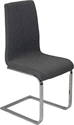 4x Charles Jacobs Modern Contemporary Grey Fabric Dining Chairs With Chrome Legs