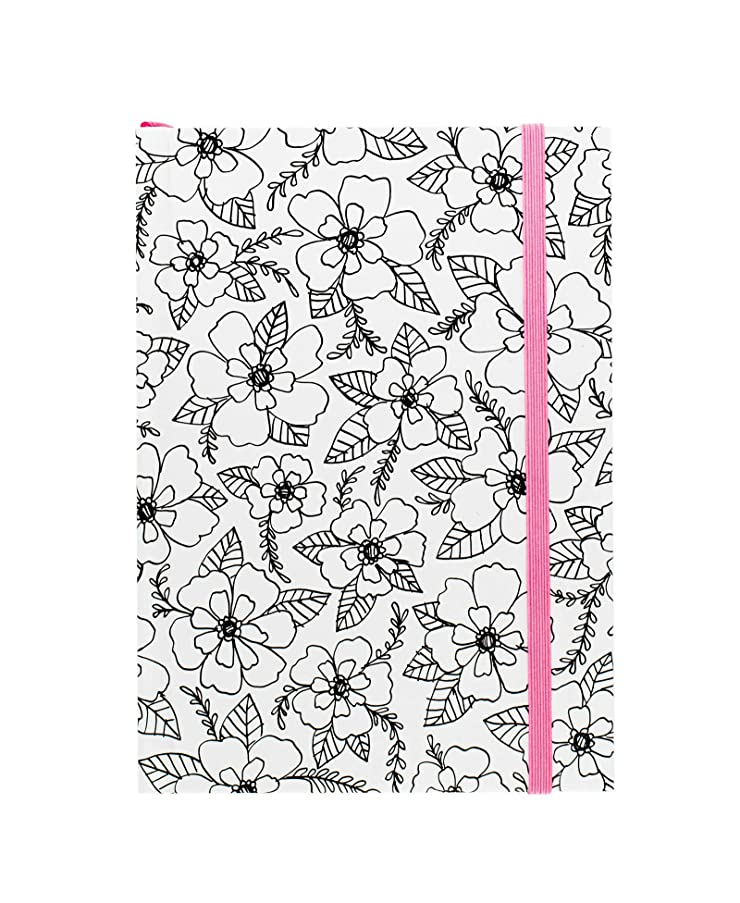 American Crafts Adult Coloring Books 5 x 7 Elastic Notebook Floral 80 Sheets