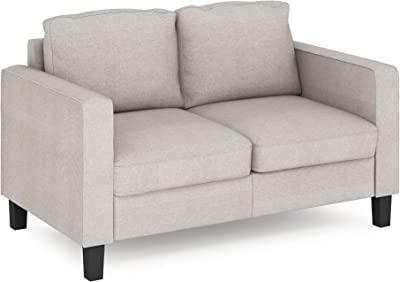FURINNO Bayonne Modern Upholstered Love Seats, Fog