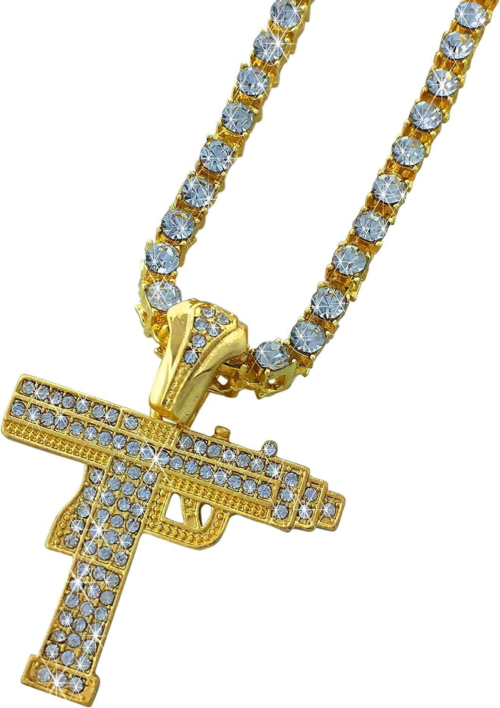 Exo Jewel Uzi Machine Gun Pendant Diamond Large discharge sale T New color with CZ Necklace 24