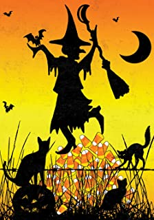 Toland Home Garden Candy Corn Witch 28 x 40 Inch Decorative Colorful Halloween Cat Pumpkin Bat Moon House Flag