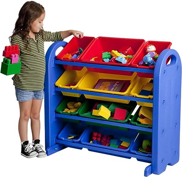 ECR4Kids 4 层儿童玩具收纳袋蓝色带 12 种颜色的箱子