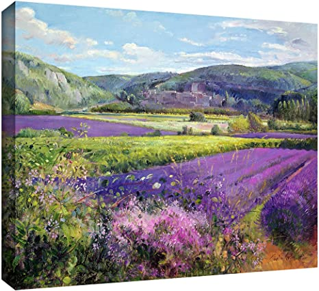 Flowers Field Fashion Gifts Art Colorful Landscape Provence Painting Art Wall France Very Beautiful Lavender Field Picture Art on Canvas