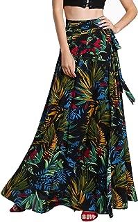 Women's Bohemian Floral Print Wrap Skirt Long Maxi Skirt