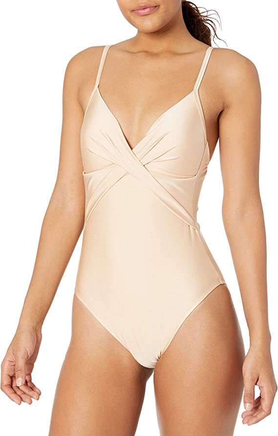 Kenneth Cole New York Women/'s Twist Front V-Neck Push-Up Mio One-Piece Swimsuit