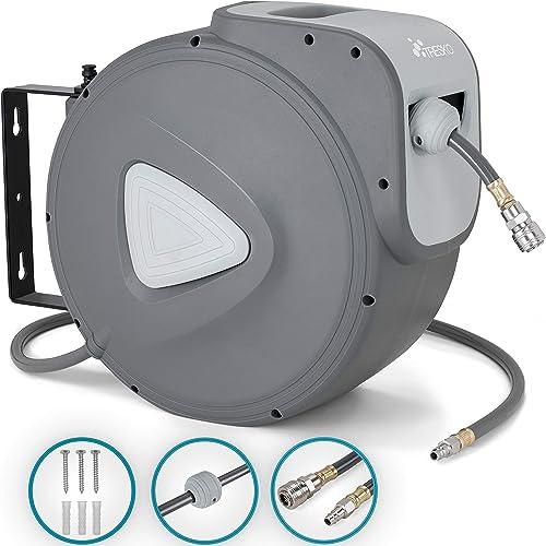 """TRESKO® 15m Druckluftschlauch Aufroller automatisch 1/4"""" Anschluss   Schlauchtrommel Wandschlauchhalter Schlauchaufro..."""