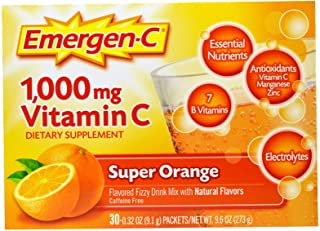 Emergen-C (30 Count, Super Orange Flavor, 1 Month Supply) Dietary Supplement Fizzy Drink Mix with 1000mg Vitamin C, 0.32 O...