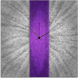 Metal Art Studio Violet Stripe Clock Large Contemporary Decor,