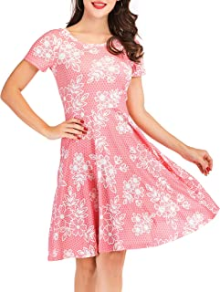 Women's Casual Elegant Floral Short Sleeve Round Neck Dress