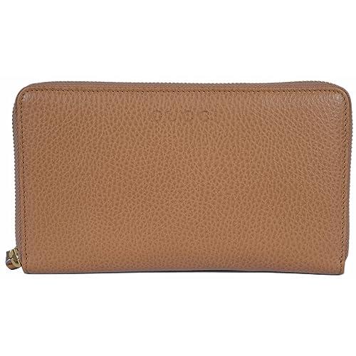 3defa50c3c2 Gucci Women s XL Textured Leather Zip Around Travel Clutch Wallet (Whisky  Beige)