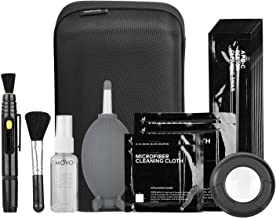 Movo Deluxe Essentials DSLR Camera Cleaning Kit PRO with LED Loupe, 10 APS-C Swabs, Sensor Cleaning Fluid, Air Blower, Lens Pen, Soft Brush, 2X Small and 2X Large Microfiber Cloth and Carrying Case