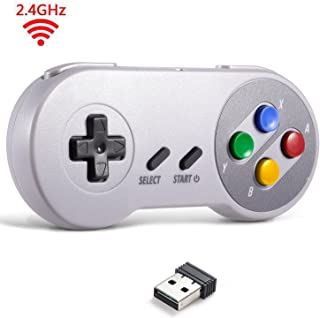 2.4 GHz Wireless USB Controller Compatible with Super NES Games, iNNEXT SNES Retro USB Classic Controller Joypad Joystick for Windows PC MAC Linux Genesis (Multi-Colored Keys)