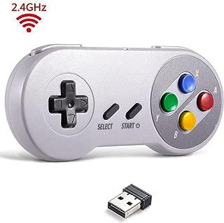 2.4 GHz Wireless USB Controller Compatible with Super Famicom Games, iNNEXT SNES Retro USB Classic Controller Joypad Joystick for Windows PC MAC Linux Genesis (Multi-Colored Keys)