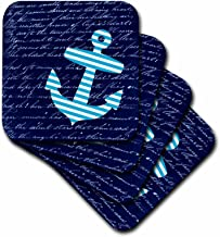 3dRose CST_112807_2 Striped Anchor on Black with Vintage Handwriting Sailor Stripes Nautical Design Soft Coasters, Blue/White, Set of 8
