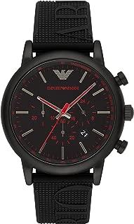 Emporio Armani Men's Black Dial Silicone Band Watch - AR11024