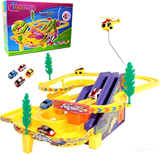 Haktoys Authentic Track Racer PlaySet with Music On/Off Switch for Quiet Play Option | Battery Operated Sport Racing Cars & Helicopter Track Set | Great Gift Fun Toy for Toddlers & Kids