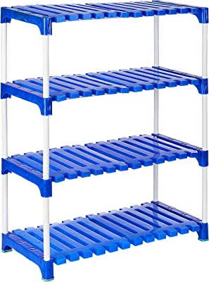 Amazon Brand - Solimo Multipurpose Rack for Shoes and Clothes, 4 Racks, Blue