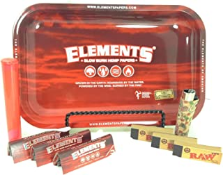 Bundle-9 Items-Elements Red Hemp 1 1/4 Rolling Papers Plus Raw Natural Rolling Tips, Cork Covered Clipper Retro Lighter and Elements Red Rolling Tray