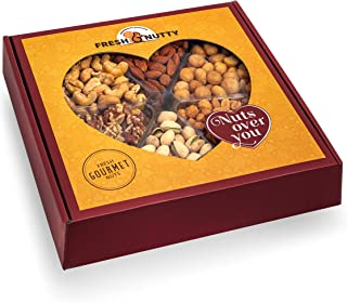 Gourmet Freshly Roasted 6 Section Large Nut Tray - Holiday, Anniversary, Birthday, Valentine's Day - Nut Gift Basket - Party Decorative Nut Platter… (Gift Style 2)