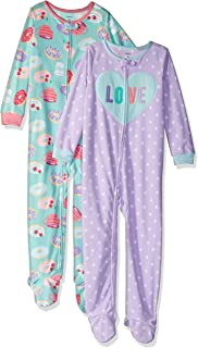 Baby and Toddler Girls' 2-Pack Fleece Footed Pajamas