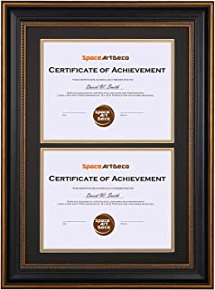 Space Art Deco 14x20 Ornate Gold Black Design Double Certificate Frame - Black Over Gold Double Mat - for Two 8.5x11-Inch Certificates and Diplomas- Sawtooth Hangers - Wall Mount - Glass (Ornate)