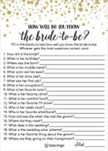 25 Black and Gold How Well Do You Know The Bride Bridal Wedding Shower or Bachelorette Party Game, Who Knows The Best, Does The Groom? Couples Guessing Question Set of Cards Pack, Printed Engagement
