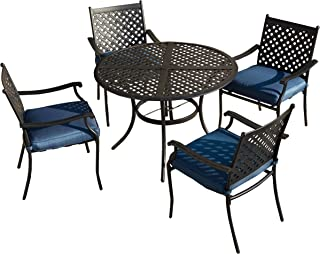 LOKATSE HOME 5 Piece Outdoor Patio Metal Dining 4 Iron Arm Chairs with Seat Cushions and 1 Table with Umbrella Hole, Blue-Set