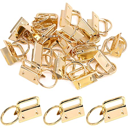 Swpeet 45Pcs Bronze 1 Inch Key Fob Hardware with Key Rings Sets 25mm Perfect for Bag Wristlets with Fabric//Ribbon//Webbing//Embossed and Other Hand Craft