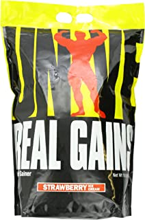 Real Gains Weight Gainer with Complex Carbs and Whey-Micellar Casein Protein Matrix Strawberry 10.6#