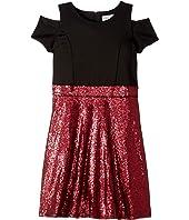 Short Sleeve Cold Shoulder Scuba To Sequin Skater Dress (Big Kids)