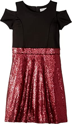 Short Sleeve Cold Shoulder Scuba To Sequin Skater Dress (Big Kids)
