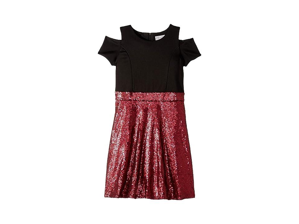 Us Angels Short Sleeve Cold Shoulder Scuba To Sequin Skater Dress (Big Kids) (Burgundy) Girl
