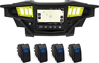 STV Motorsports 2017-2018 Polaris RZR XP 1000 RIDE COMMAND Custom Switch Dash Panel Plates with 4 free rocker switches - 100% MADE in USA (lime, 4 rocker switch)