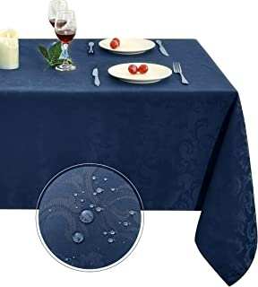 Obstal 210GSM Rectangle Table Cloth, Water Resistance Microfiber Tablecloth, Decorative Fabric Table Cover for Outdoor and Indoor Use (Navy Blue,60 x 102 Inch)