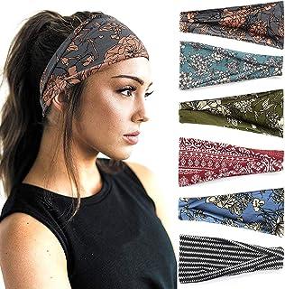 Boho Headbands For Women Fashion Wide Headband Yoga Workout Head Bands Hair Accessories Band 6 Pack
