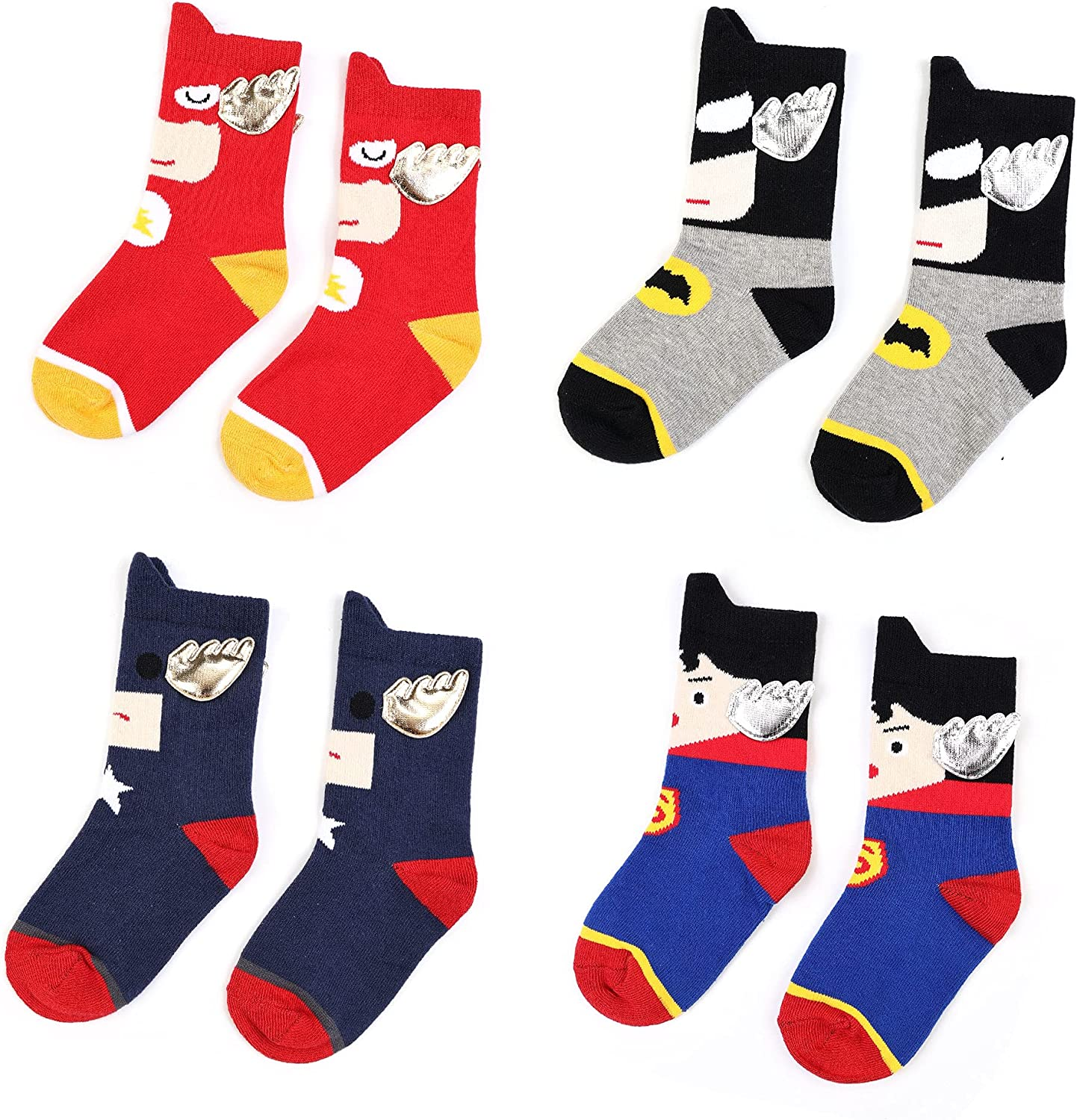 3-6 Year Old Kids Cotton Sock Superman Batman The Flash with Wings Boys Girls
