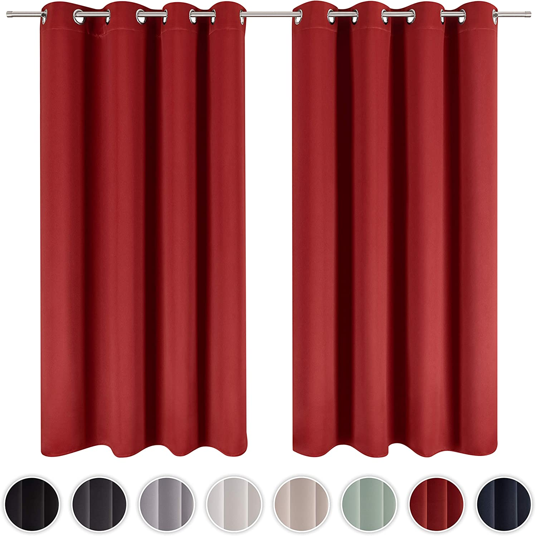 Blumtal Juego de 2 Cortinas Opacas para Interior - Cortinas Aislantes Térmicas, 140 x 145 cm, Rojo Oscuro