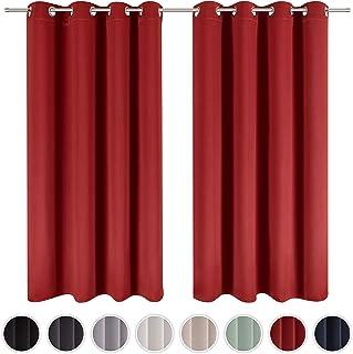 Blumtal - Lot de 2 Rideaux Occultants 140x245 cm - Rideau Occultant Rouge - Rideau Opaque avec Œillets - Double Rideaux Oc...